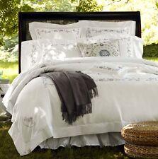 Sferra JANELLA King Sham Egyptian White Cotton Percale Khaki Embroidery New