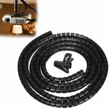 2m Cable Wire Tidy Organising Spiral Wrap Tool PC TV DVD Office Home 10mm Black