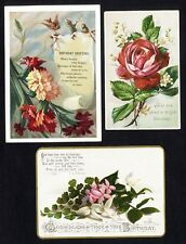 3 BIRTHDAY Victorian Greeting Cards 1880's Red Rose CARNATIONS Poem by Burnside