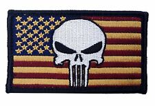 PUNISHER USA FLAG EMROIDERED MILITARY 3.5 INCH G HOOK PATCH