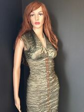 Women's Nicole Miller Army Green Metallic Sheath Cocktail Party Dress 2