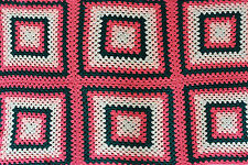 """Hand Made Crochet Granny Square Afghan Pink Green White Throw Blanket 34"""" x 53"""""""