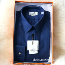 NIB Authentic HERMES Dress Shirt Ocean Blue Sellier Cuff Poplin Mother Pearl 41