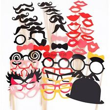 NEW 50 Photo Booth Props Moustache Lips on A Stick Weddings Christmas Birthday