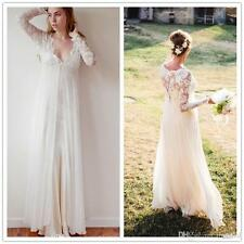 Long Sleeves Lace Empire Waist Wedding Dress Pregnant Bridal Gown Custom Size