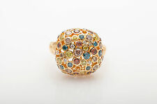 Designer $6000 Genuine 3ct BLUE RED Yellow Champagne White Diamond 18k Gold Ring