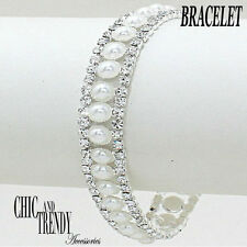 HIGH END CLEAR CRYSTAL & WHITE SIMULATED PEARL BRACELET CHIC & TRENDY JEWELRY