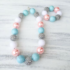Silver White Blue Beads Gold Pearl Chunky Bubblegum Girl necklace Set kidsCB816