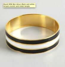Brand NEW - Ben Amun Black and white striped enamel and metal bangle bracelet