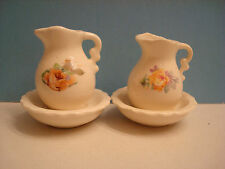 2 DOLLHOUSE MINIATURE BOWL AND PITCHERs, antique white with peachy pink FLOWERS