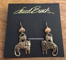Laurel Burch Feline Family Cat Earrings Antiqued Gold Tone NEW Retired Rare
