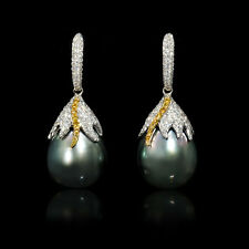 18K TWO TONE GOLD DIAMOND & SOUTH SEA TAHITIAN PEARL DANGLE EARRINGS