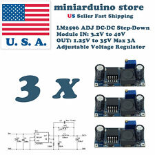 3 x LM2596S DC-DC 3A Buck Converter Adjustable Step-Down Power Supply Module USA