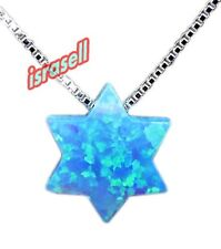 Blue Opal STAR OF DAVID NECKLACE - Jewish Gift - pendant - silver chain jewelry