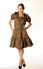 YVES SAINT LAURENT Military Green Cotton DRAWSTRING RUFFLE DRESS Pleated Skirt 8
