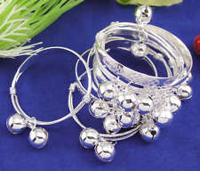 2PCS Baby Boy Girl Silver plated baby Bells bracelet Cuff bangle jewelry gift