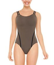NWT New SPANX Golden Touch One Piece Tank Swimsuit Swimwear Pewter 8
