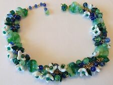 VINTAGE MIRIAM HASKELL SIGNED GREEN AND BLUE GLASS BEAD FLOWER NECKLACE