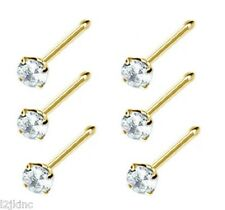6 pcs 14k Gold Plated Prong Nose Stud Bone Ring 1.5mm Gem Ball Ended 22G Clear