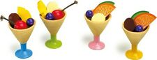 Children's wooden 4 ice cream sundaes with fruit. Play food kitchen toy.New