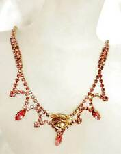 "Vintage Juliana Pink Rhinestone Necklace Gold Rhodium Rose Center 16"""