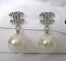 CHANEL MINI CC LOGO CRYSTAL PEARL DROP POST EARRINGS NWT BOX 100%AUTH, ITALY