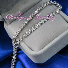 9K White GOLD GF Womens Tennis SILVER Wedding BRACELET Swarovski CRYSTAL L353-S