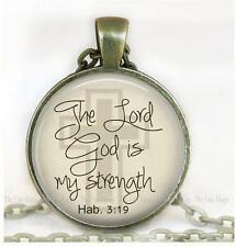 "Habakkuk 3:19 Inspirational Bible Quote God is My Strength 1"" Bronze Pendant A1"
