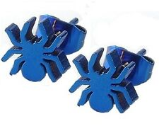New One Pair Novelty Stainless Steel Spider Tarantula Earring Studs Blue