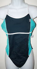 NIKE Turquoise & Navy Crossback 1 Pc Swimsuit NWT 12