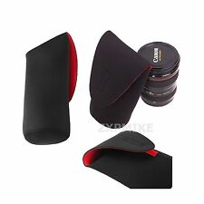 L Black Neoprene Soft DSLR SLR Camera Lens Pouch Case Bag