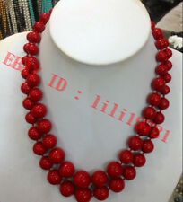 """2 ROW 8-18mm AAA Coral Red South Sea Shell Pearl Round Beads Necklace 17-18"""""""