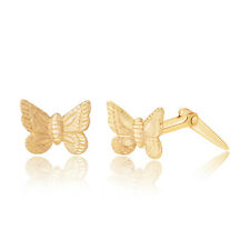 9ct yellow gold butterfly Andralok stud earrings / Gift box