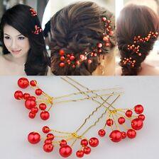 Set 5 Haarnadeln Perlen Fecher Hochzeit Tiara Diadem ROT Braut Haarschmuck NEU