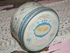 Vtg/Antique TINY-TOT Bath Powder/Baby Talc Talcum TIN~Floral Pink & Blue~Round