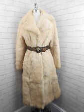 Ladies 1970s Vintage Long Ivory White Peach Fitted Real Coney Fur Coat 12/14