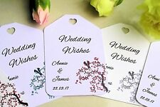 50 Personalised Love Birds Wedding Favour Wish Wishing Tree Tags Labels + Ribbon