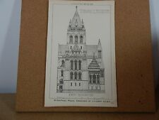 Antique Architects Print Town Church design R.I.B.A prize drawing building news