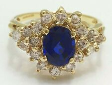 Created 1.74 Cts Sapphire & 1.08 cts Genuine Diamonds 14k Solid Yellow Gold Ring