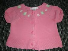 Janie and Jack 3 6 Mo.Sweater Daisy Garden Pink Frog Cardigan Cotton Pre-owned