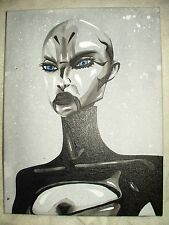 Canvas Painting Star Wars Asajj Ventress E Speckled B&W 16x12 inch Acrylic