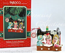 Enesco Buttons 'N' Bows Boutique Ornament Mice and Sewing Treasury of Christmas