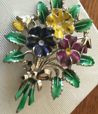 VINTAGE  1950 'S EXQUISITE BIRTHDAY BROOCH - SMALL VERSION  - PANSIES