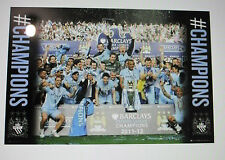 MANCHESTER CITY UNSIGNED CHAMPIONS POSTER UNFRAMED