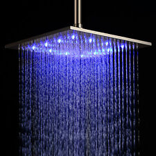 "Sprinkle New 12"" Colorful Brushed Stainless Steel square rain shower head"