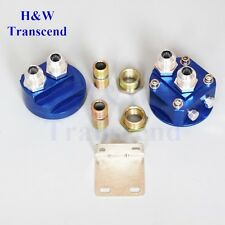 ALUMINUM OIL FILTER RELOCATION MALE FITTING ADAPTER KIT 3/4X16 AND 20X1.5 Blue