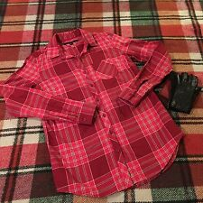 WOMEN'S BUTTON DOWN RED PLAID TOMMY HILFIGER LONG SLEEVE SHIRT SZ XS