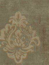 Wallpaper Designer Light Taupe and Gold Block Print Damask on Taupe Gray Faux