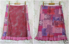 Rare! BOUTIQUE Vtg Floral Lace Leopard Animal Print Patchwork Ethnic Skirt Pink