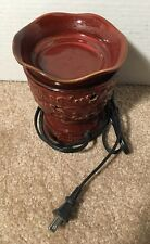 Scentsy Brown Red Wax Warmer w/ Bulb Candle Accessory Discontinued Roma